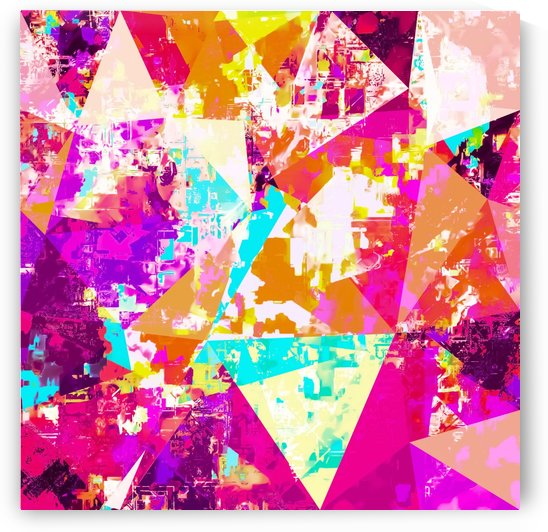 geometric triangle pattern abstract in pink blue purple by TimmyLA
