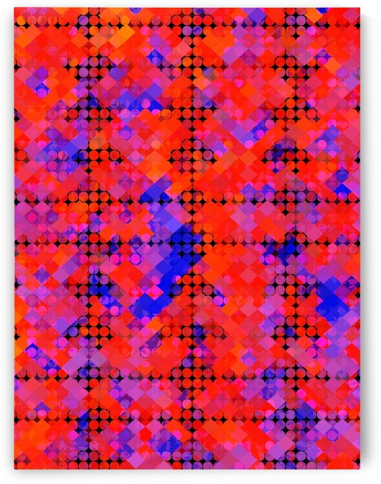 geometric circle and square pattern abstract in red orange blue by TimmyLA