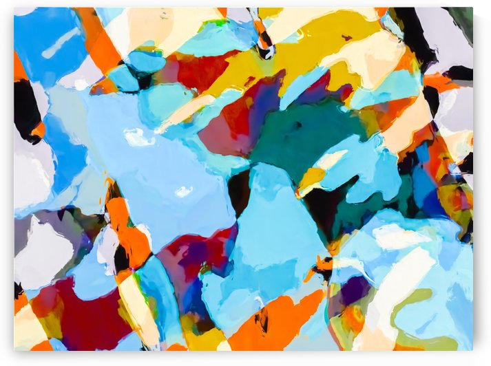 painting texture abstract in blue orange green yellow by TimmyLA