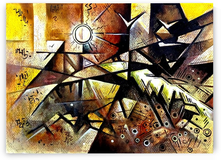 Cubist Painting Seascape 1 -   Geometric Abstract by Sumit Datta