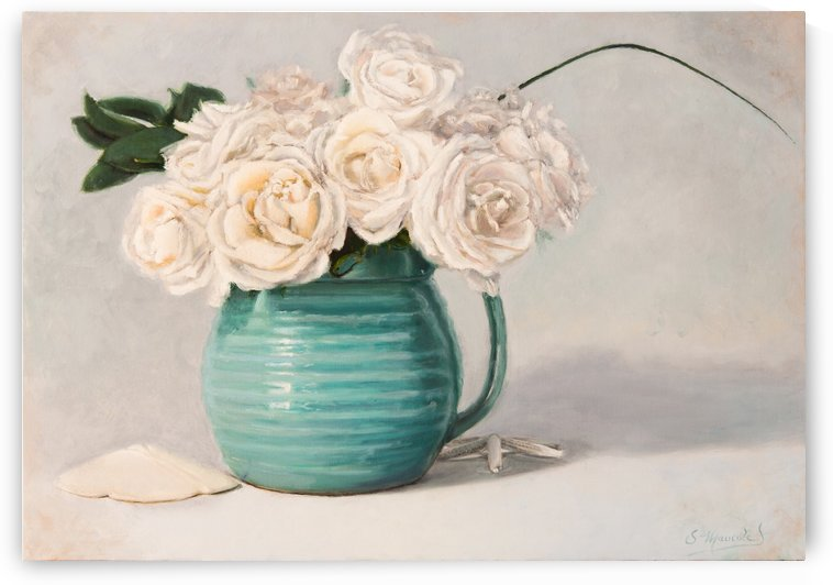 White roses in green pitcher 28 x 40 oil painting landscape 1 by Jocelyne maucotel