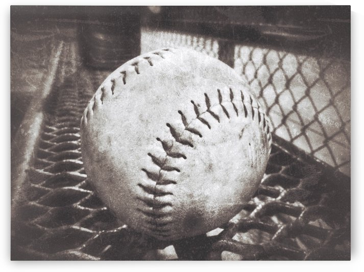 Softball on the Bench in Sepia by Leah McPhail