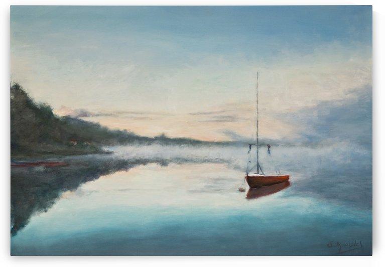 At rest  Au repos   oil painting  waterscape 1 by Jocelyne maucotel