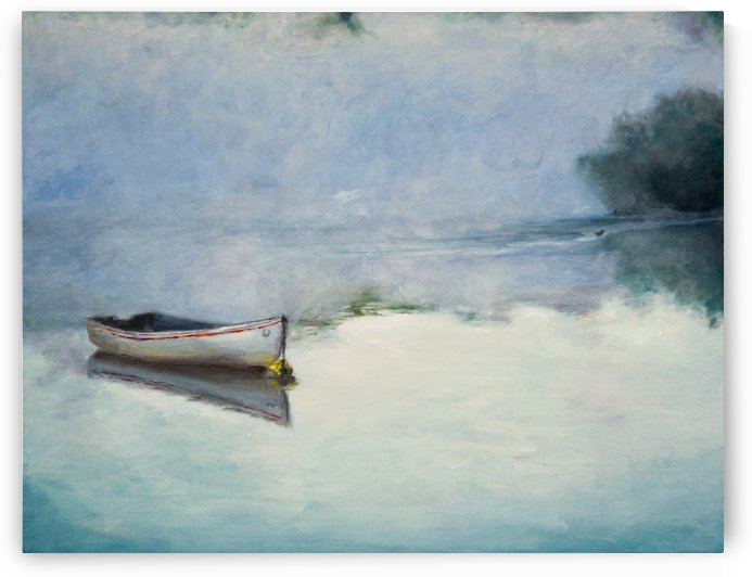 Fog on the lake   Brume sur le lac oil painting waterscape 1 by Jocelyne maucotel