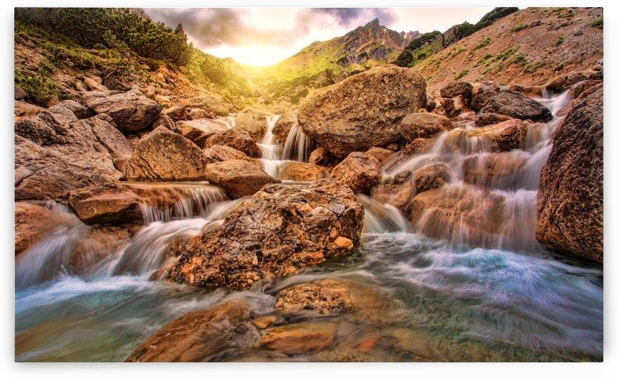 waters, nature, river, waterfall, rock, sunset, water, landscape, austria, abendstimmung, mood, bach, mountain stream, by fabartdesigns