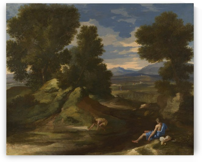Landscape with a Man scooping Water from a Stream by Nicolas Poussin