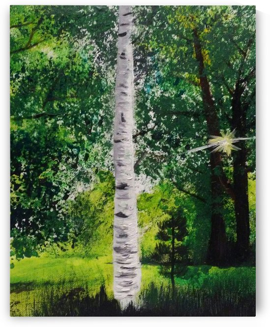 Sun Peeking Through the Trees by Ninabana Art Studio