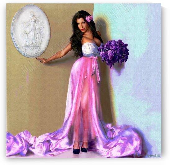 Portret lady with a bouquet of lilacs by AlexXserx