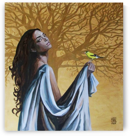 Girl with goldfinch by Kateryna Bortsova