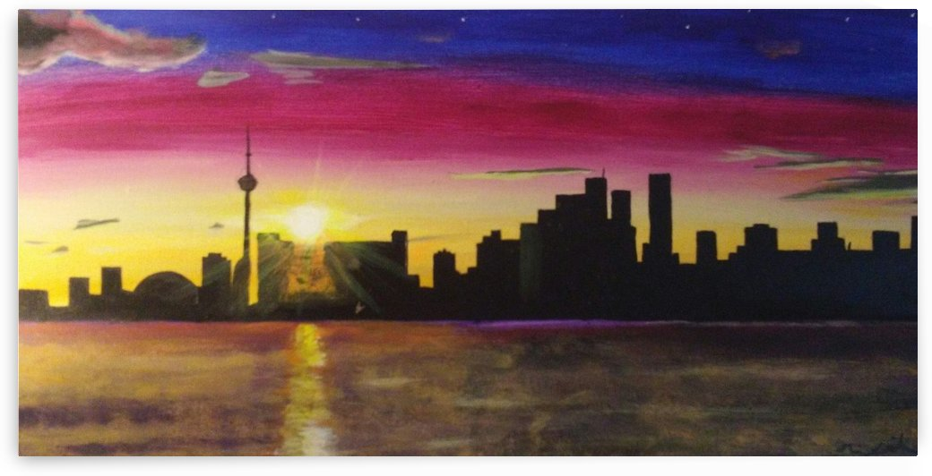 Magenta Toronto Skyline by Ninabana Art Studio