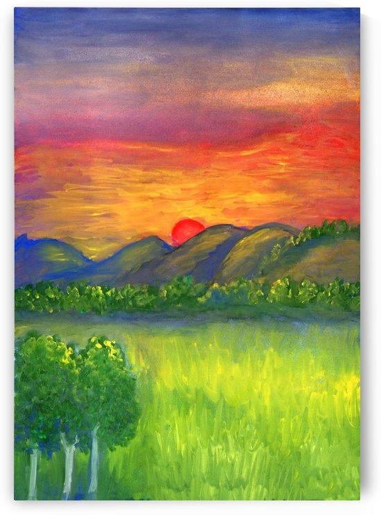 Mystical red sunset by Dobrotsvet Art