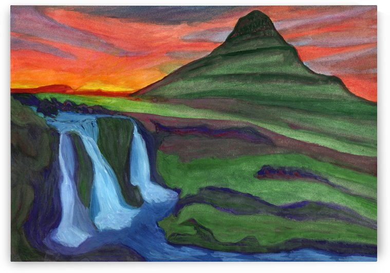 Mountain And Waterfall In The Rays Of The Setting Sun by Dobrotsvet Art