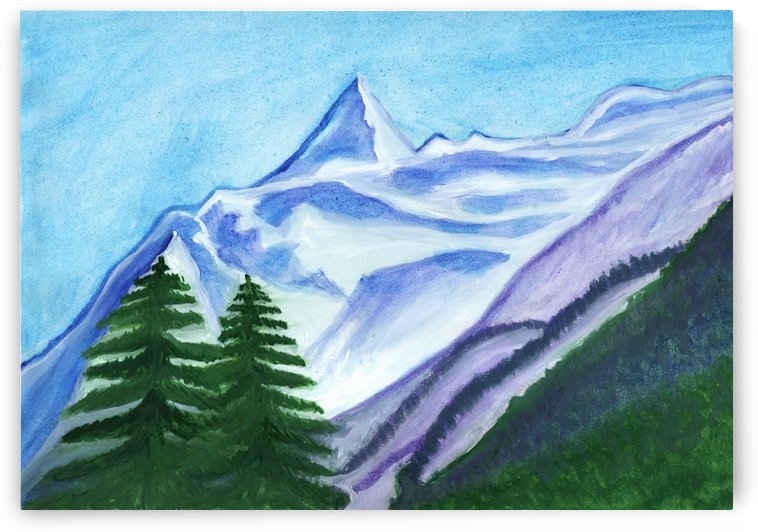 Two mountain spruce against the backdrop of snow-capped peak by Dobrotsvet Art