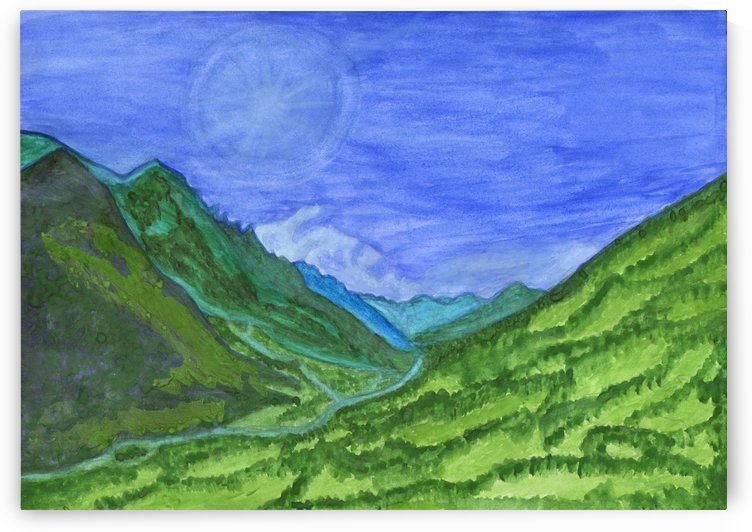 The sun is hidden behind the clouds in a green valley by Dobrotsvet Art