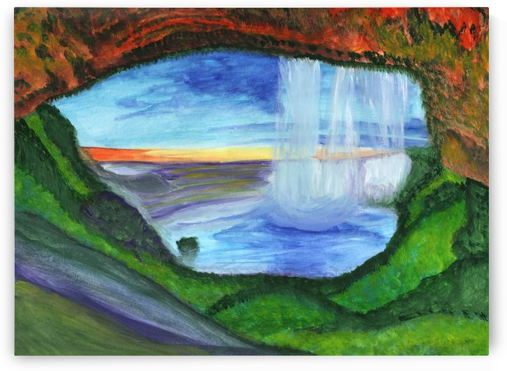 View from the cave to the waterfall by Dobrotsvet Art