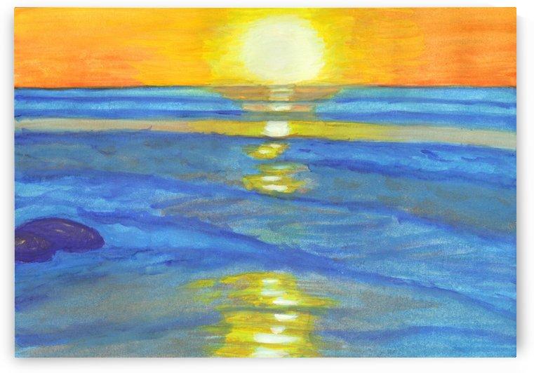 Sunset and ocean waves by Dobrotsvet Art