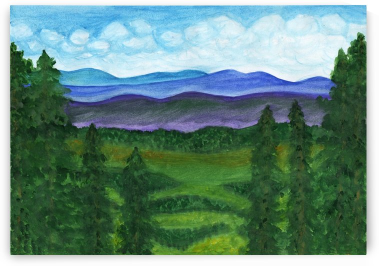 View from a mountain slope to distant mountains and forests by Dobrotsvet Art