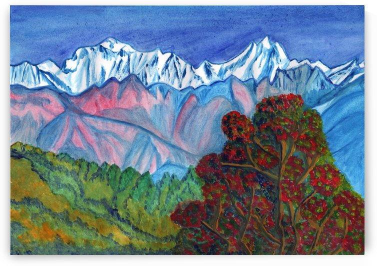Blooming tree on a background of snowy mountains by Dobrotsvet Art