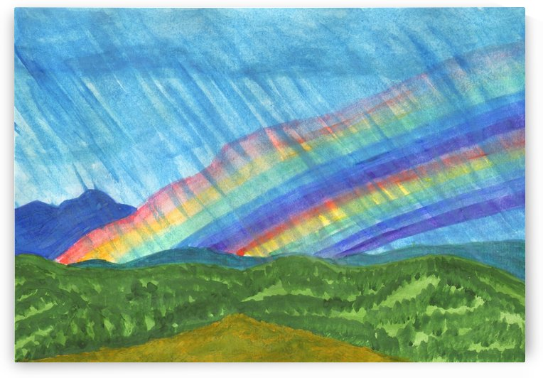 Double rainbow and rain in the mountains by Dobrotsvet Art