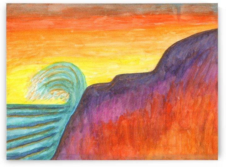 Sea surf at sunset by Dobrotsvet Art