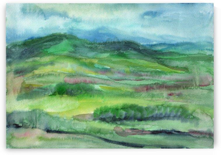 Watercolor summer landscape by Dobrotsvet Art