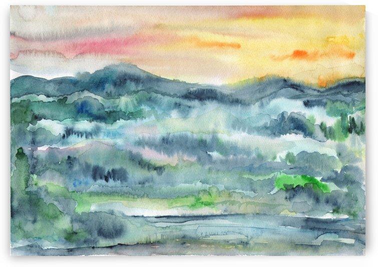 Watercolor Summer Sunset by Dobrotsvet Art