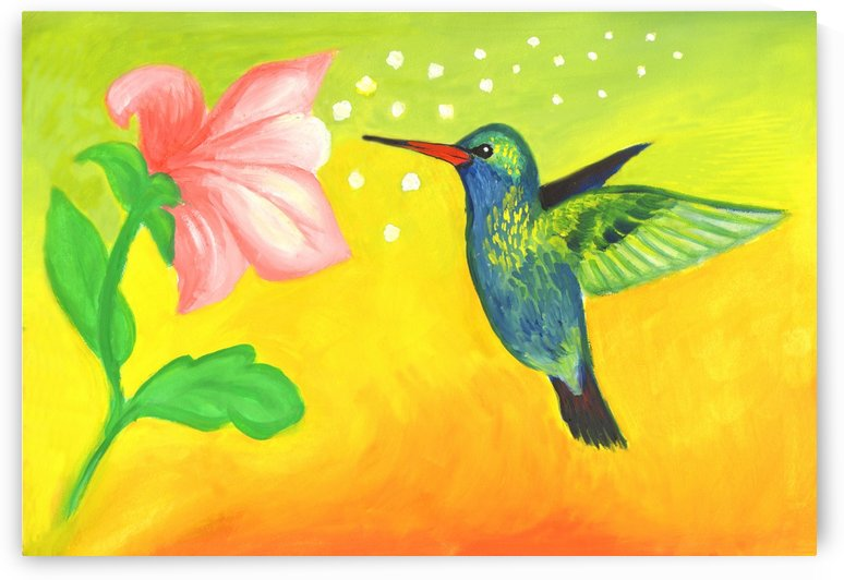 Hummingbird and Pink Flower by Dobrotsvet Art
