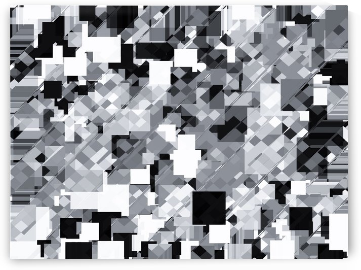 geometric square pixel pattern abstract in black and white by TimmyLA