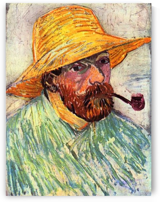 Self-Portait with straw hat -2- by Van Gogh by Van Gogh