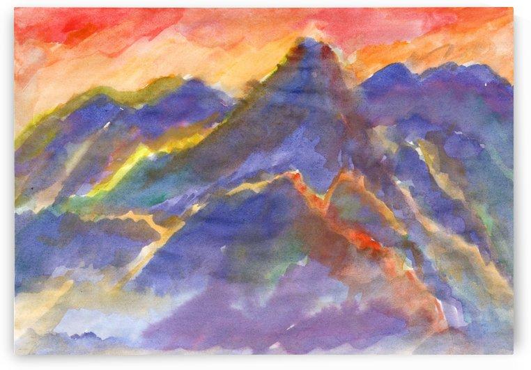 Red sunset in the mountains by Dobrotsvet Art