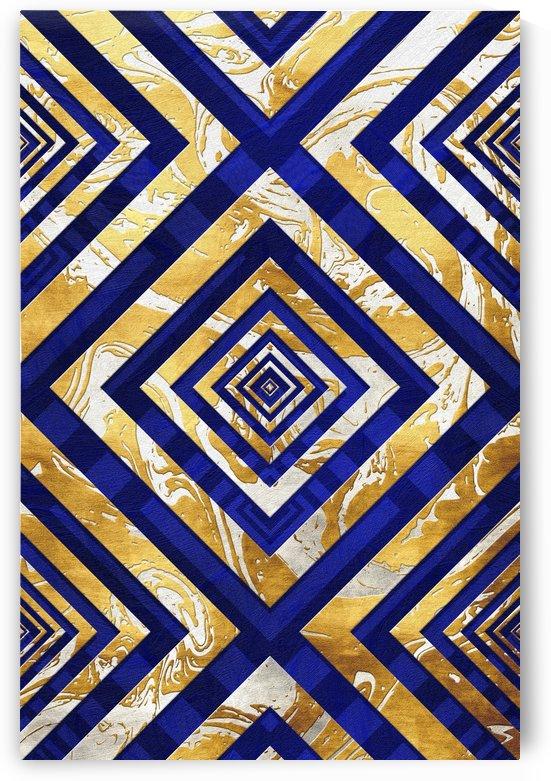 Geometric Gold Dark Blue Marble by Art Design Works