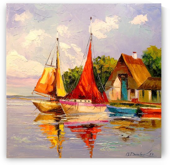 Sailboats near the shore by Olha Darchuk