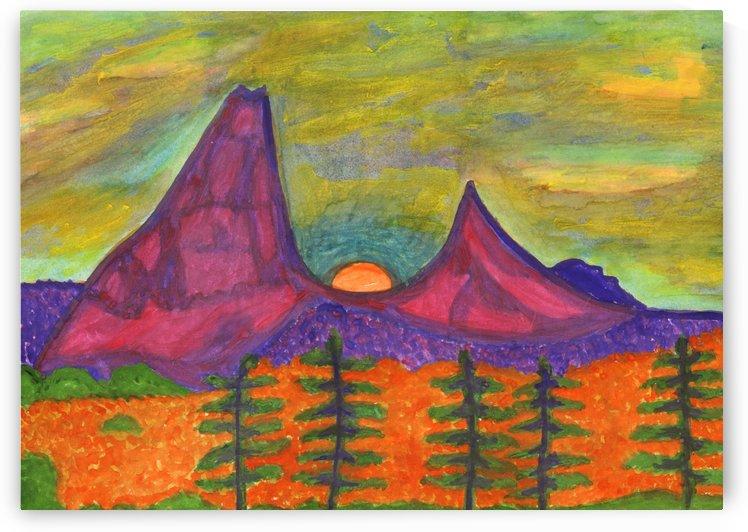 Full Moon Rising in the Mountains by Dobrotsvet Art