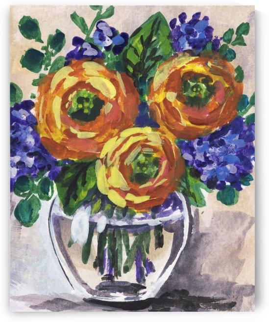Impressionistic Flowers Warm Yellow Joy by Irina Sztukowski