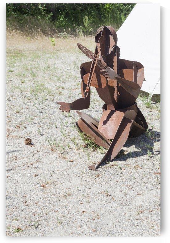 Metal sculpture depicting a resident of  an Okanagan village by Bob Corson
