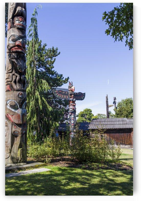 Totem Poles in Thunderbird Park Victoria BC 3 by Bob Corson