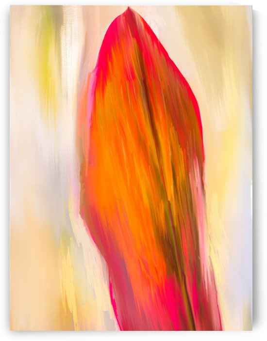 Red Ti  Leaf Digital Painting Portrait 52 70 360px by Gene Norris