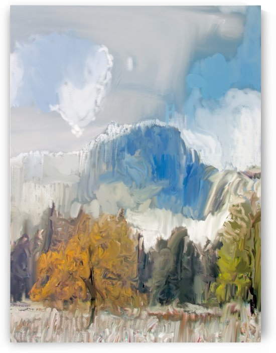 Half Dome from Meadow Digital Painting 52 70 200px by Gene Norris
