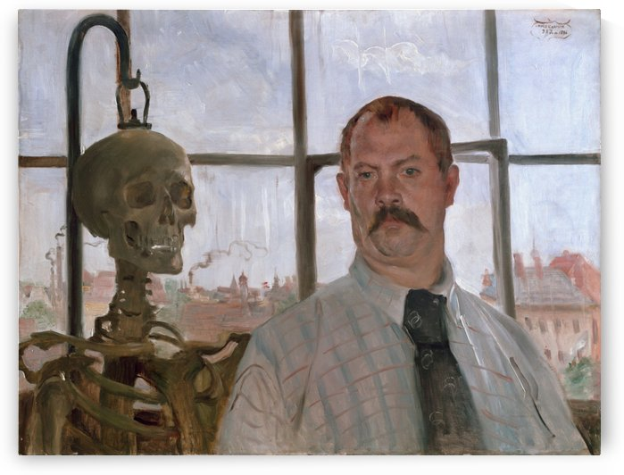 Self-portrait with Skeleton by Lovis Corinth