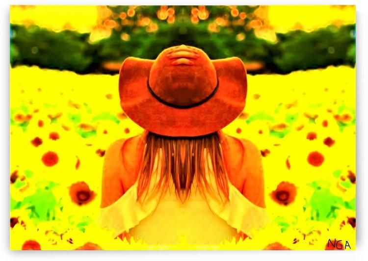 Girl in the Poppy Field  - by Neil Gairn Adams P by Neil Gairn Adams