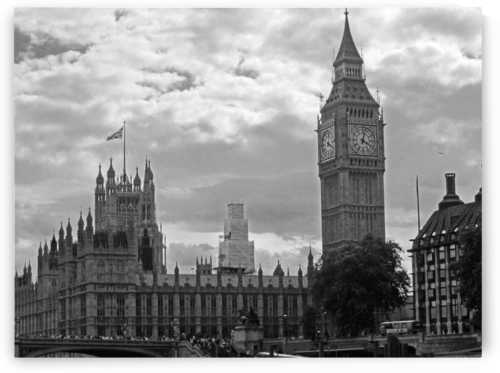 Big Ben and Westminster Abbey B&W by Gods Eye Candy