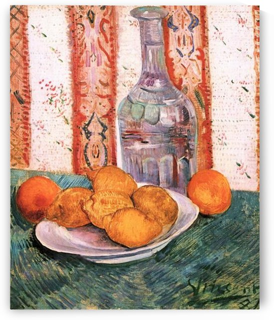 Still life with bottle and lemons on a plate by Van Gogh by Van Gogh