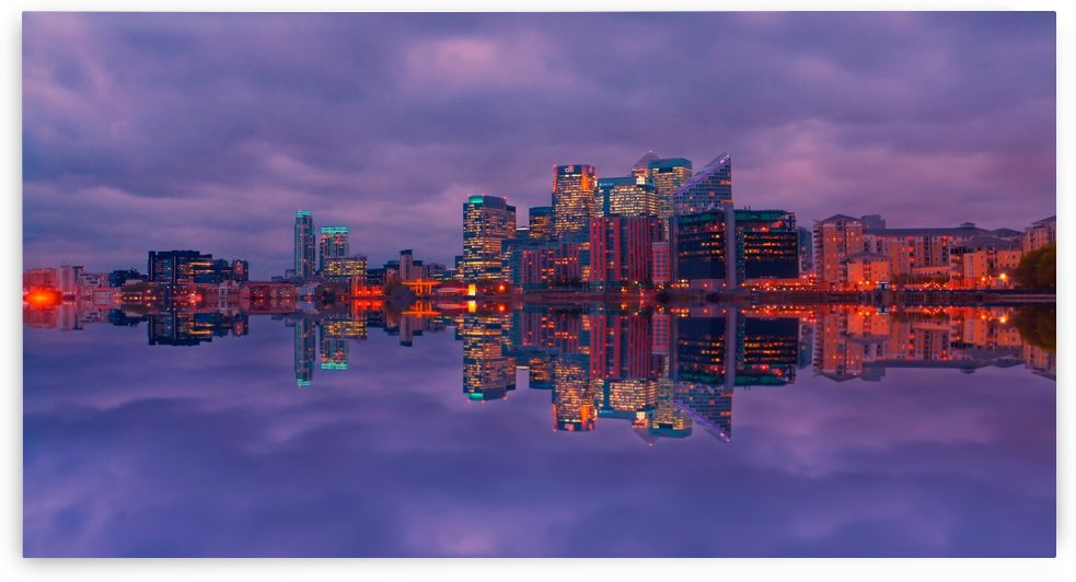 LON 009 Canary Wharf Reflection  by Michael Walsh