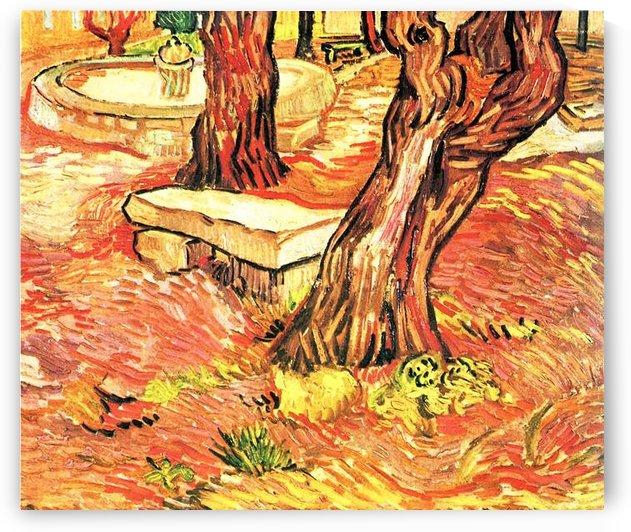 Stone bench in the garden of the hospital of Saint-Paul by Van Gogh by Van Gogh