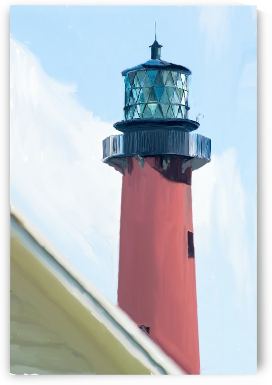 Jupiter Inlet Lighthouse Digital Painting Portrait 52 70 200px by Gene Norris