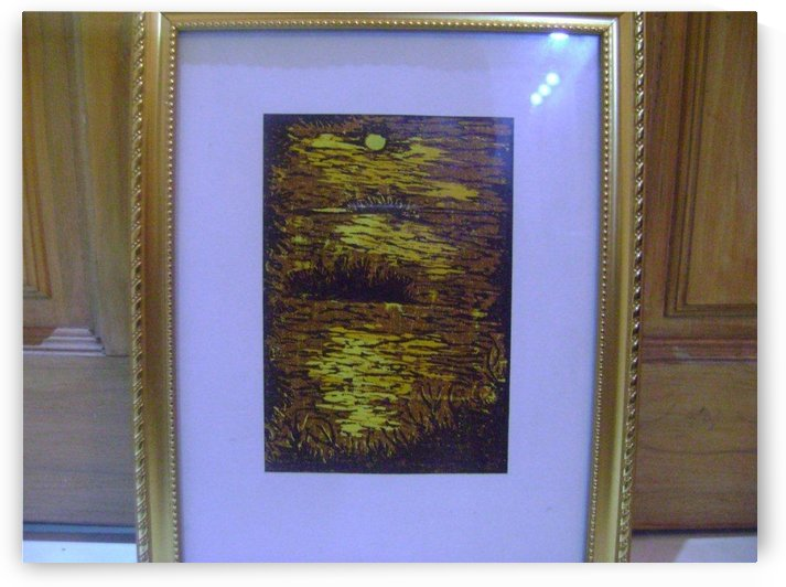 Wood PaintingWith Frame Sunset  by Fatema Akhter