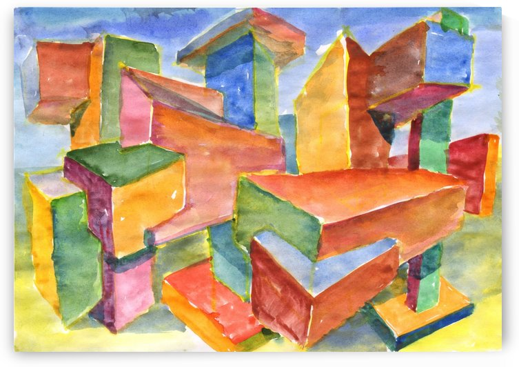 3D Watercolor geometric abstraction by Dobrotsvet Art