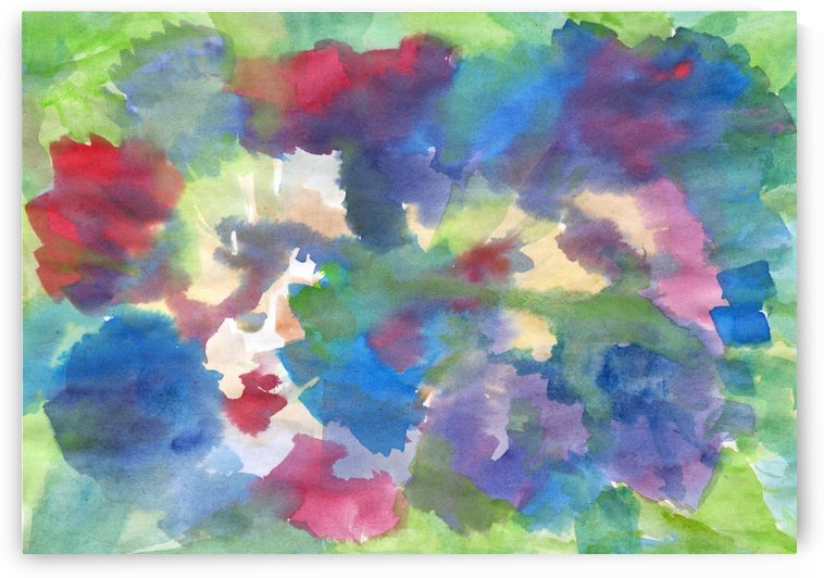Watercolor abstraction with a blurred floral pattern by Dobrotsvet Art