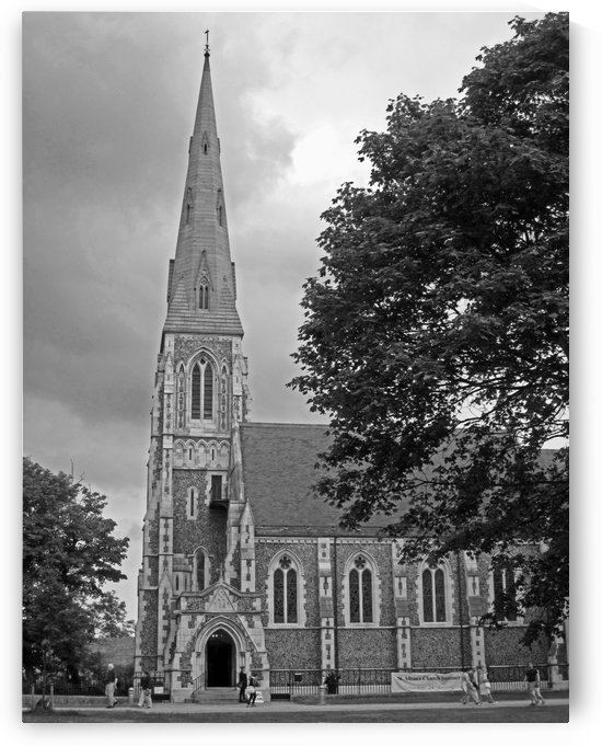 Church and Trees B&W by Gods Eye Candy