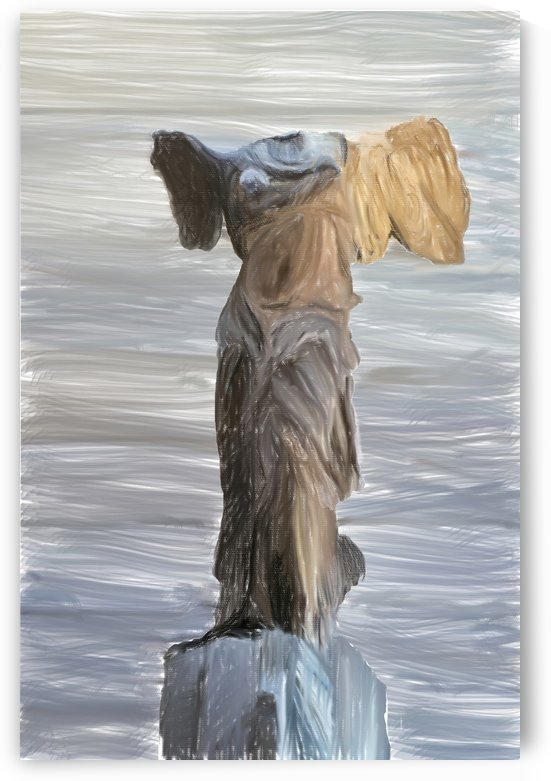 Winged Victory Digital Painting Portrait Format by Gene Norris